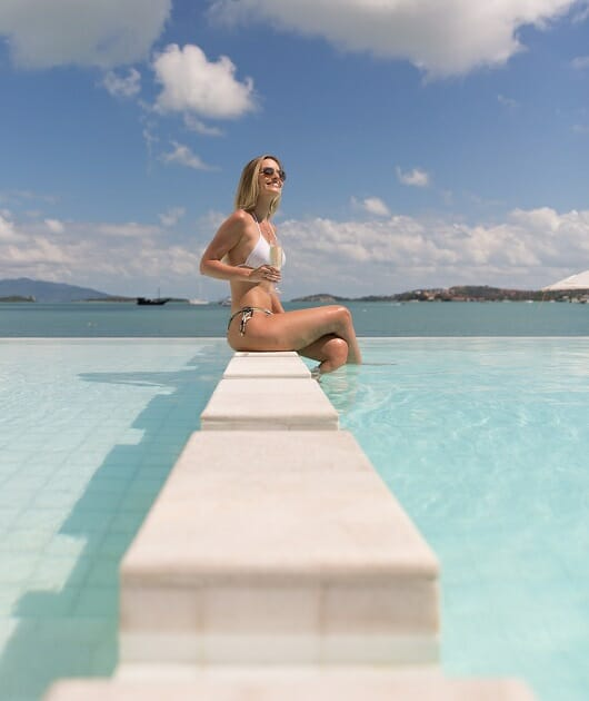 Swimming pool at Chi, a luxury beach club located on the beach in Ban Rak, Koh Samui, Thailand